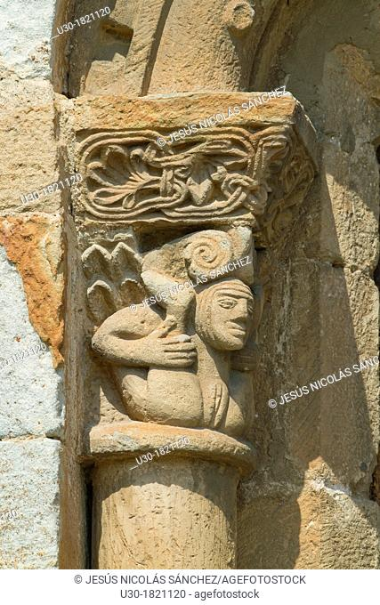 Detail of erotic decorative motif of San Pedro collegiate, in Cervatos village, Campoo de Enmedio, considered as one of the most important romanesque churches...