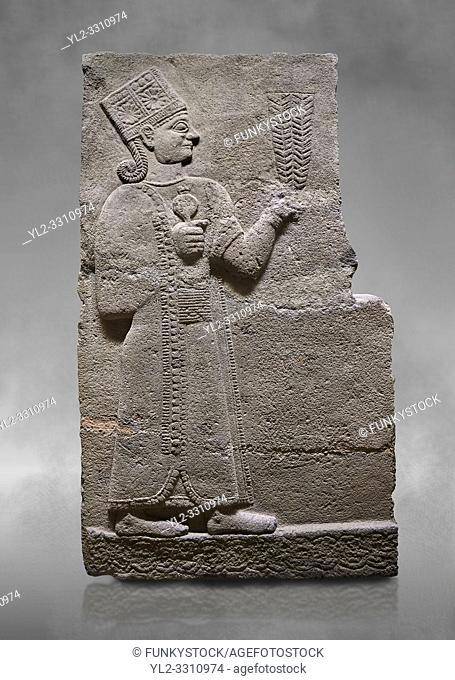 Hittite relief sculpted orthostat stone panel of Long Wall Basalt, Karkamıs, (Kargamıs), Carchemish (Karkemish), 900-700 B. C