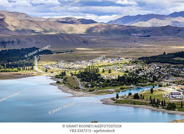 Lake Tekapo Town and Lake Tekapo, Canterbury Region, South Island, New Zealand