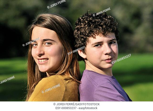 Portrait of a girl and a boy teens