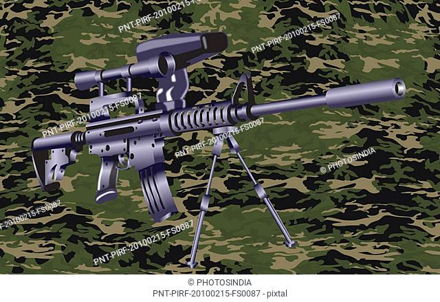 Machine gun on a camouflaged background