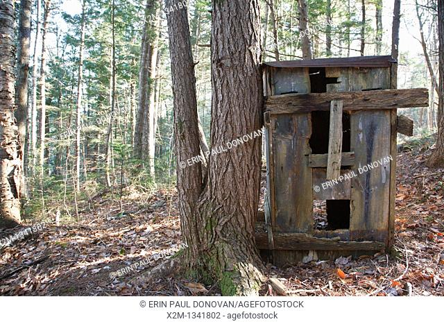 Wooden box in forest in the area of Church Pond in Livermore, New Hampshire USA