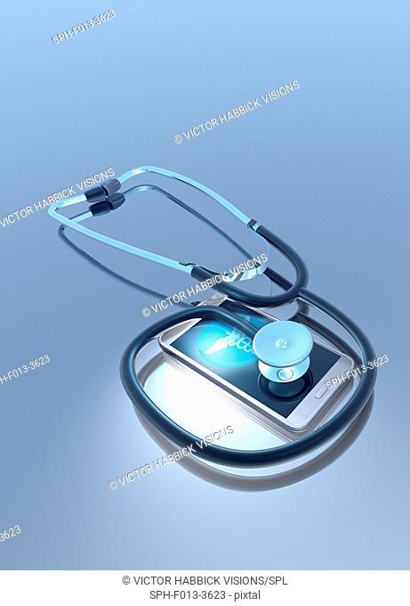 Stethoscope and smartphone, illustration
