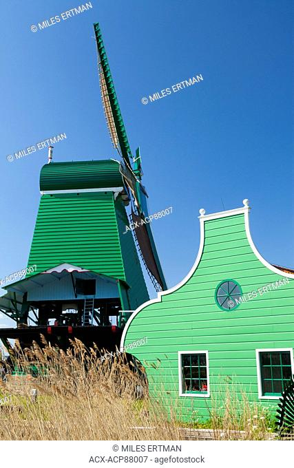 Zaanse Schans is an open-air museum north of Amsterdam featuring several restored, working windmills