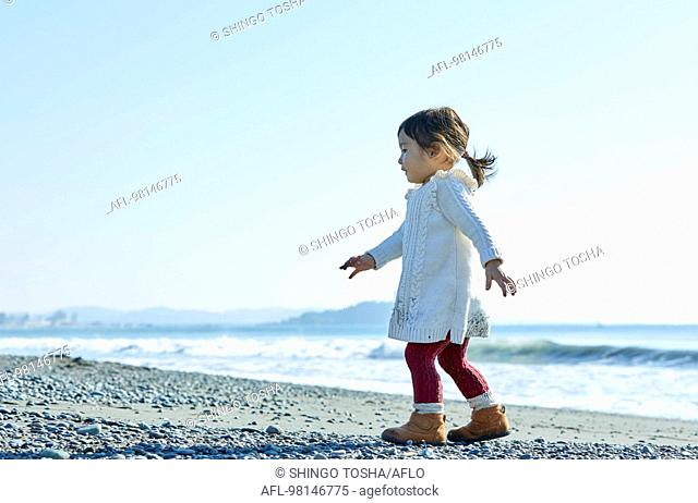 Japanese kid at the beach