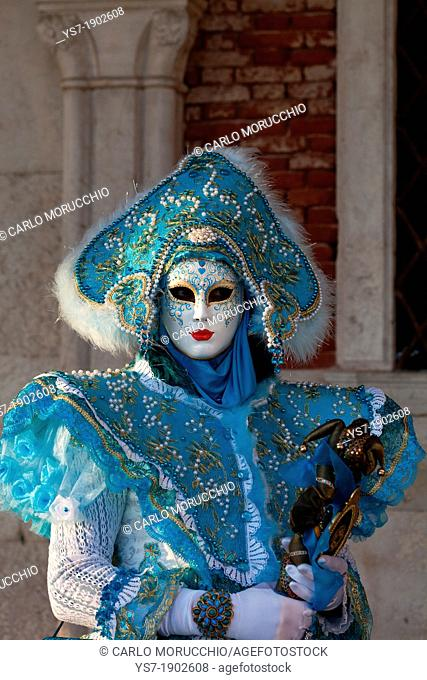 Masks at Venice Carnival in St  Mark's Square, Venice, Veneto, Italy, Europe