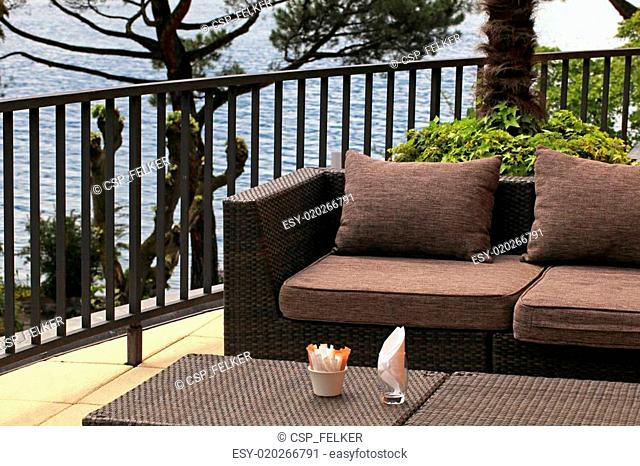 Beautiful terrace outdoor cafe with sofa and lake view(Montreux, Switzerland)