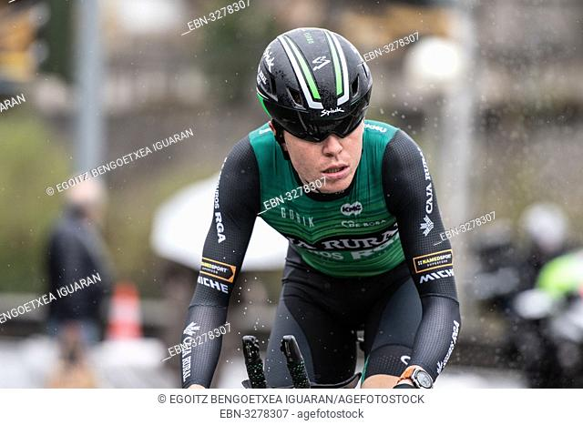 Jon Irisarri Ricon at Zumarraga, at the first stage of Itzulia, Basque Country Tour. Cycling Time Trial race