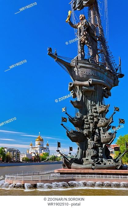 Monument to Peter the Great and Cathedral of Christ the Savior - Moscow Russia