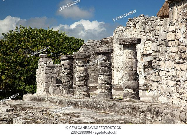 Stone Temple at Tulum Ruins, Quintana Roo, Yucatan Province, Mexico, Central America