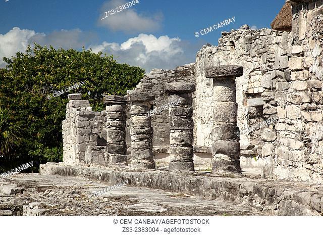 Stone Temple at Tulum Ruins, Quintana Roo, Yucatan Province, Mexico, Central America