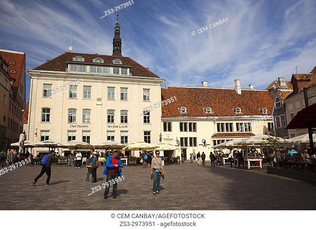 Tourists in front of the colorful houses in the main Square Raekoja Plats, Tallinn, Estonia, Baltic States, Europe