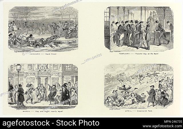 "January – """"Hard Frost"""" from George Cruikshank's Steel Etchings to The Comic Almanacks: 1835-1853 (top left) - 1836, printed c"
