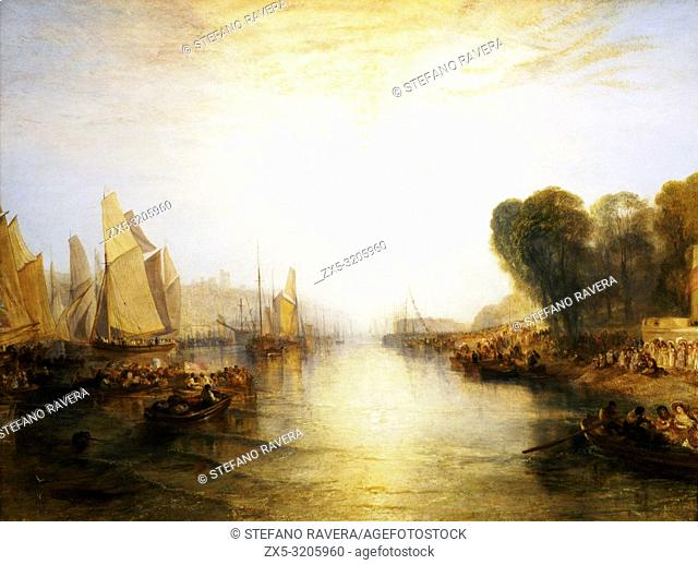 The regatta with the Royal Yacht Squadron by Joseph Mallord William Turner (1755-1851). Oil on canvas. Exhibited at the Royal Academy 1828