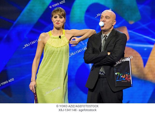 08 02 2011, Milan, Zelig telecast  Claudio Bisio and Paola Cortellesi