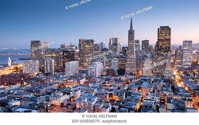 Panoramic view of San Francisco Financial District, Fall 2015