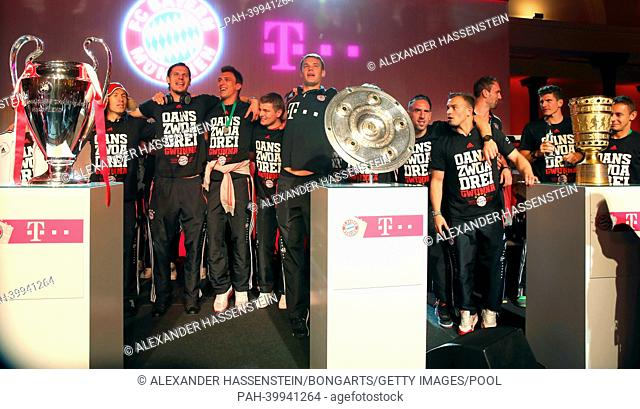 BERLIN, GERMANY - JUNE 01: Players of Bayern Muenchen celebrate during the FC Bayern Muenchen Champions party after winning the German DFB Cup finale at...