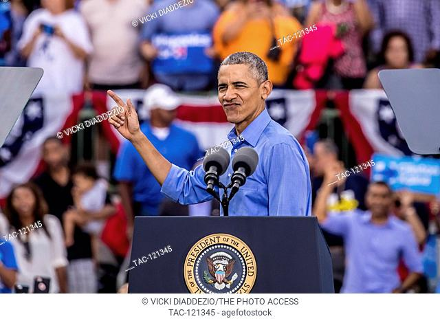 President Barack Obama campaigns for Hillary Clinton on Sunday November 6, 2016 at Heritage Park in Kissimmee, Florida