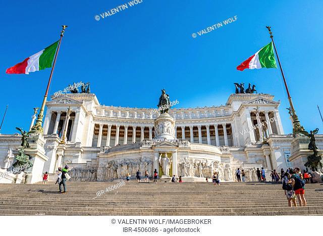 Italian flags drifting in front of Monumento Nazionale a Vittorio Emanuele II, Vittoriano, Altare della Patria, National Monument to Victor Emmanuel II