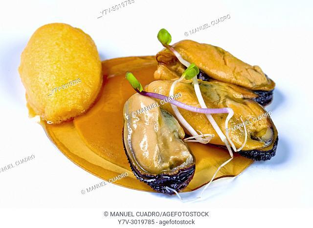 Mejillones abiertos al vapor sobre crema de anchoas en salazón y sorbete de campari / Steamed mussels on salted anchovies creme and campari sorbet