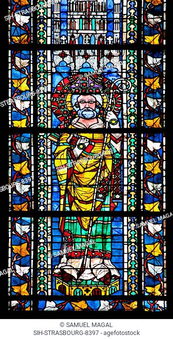 France, Alsace, Strasbourg, Strasbourg Cathedral, Stained Glass Window, Saint Juste