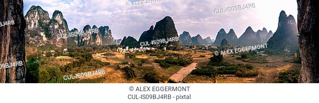 Panoramic image of Guilin Sugarloaf, Yangshuo, Guangxi, China