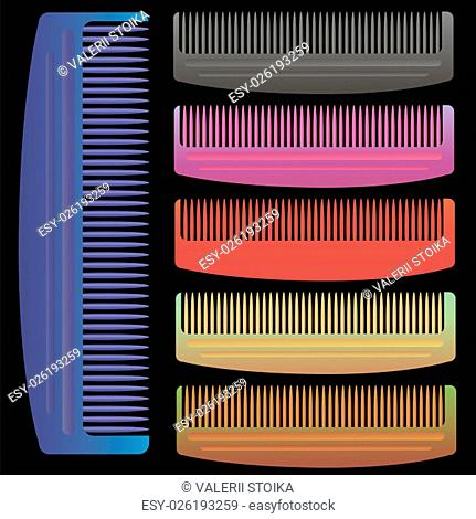 Set of Colorful Combs Isolated on Black Background