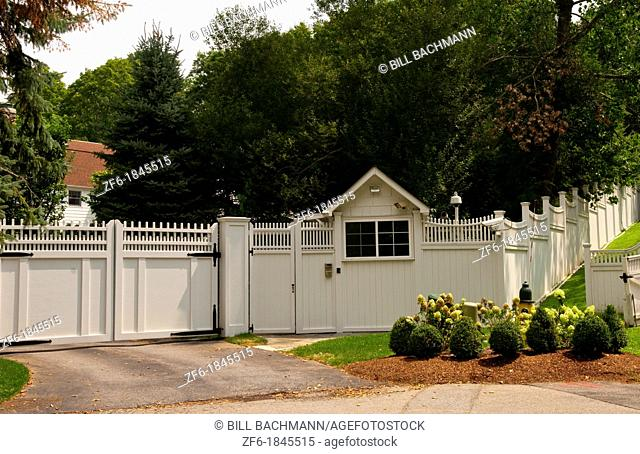 President Bill Clinton and Hillary home compound behind walls in Chappaqua New York USA