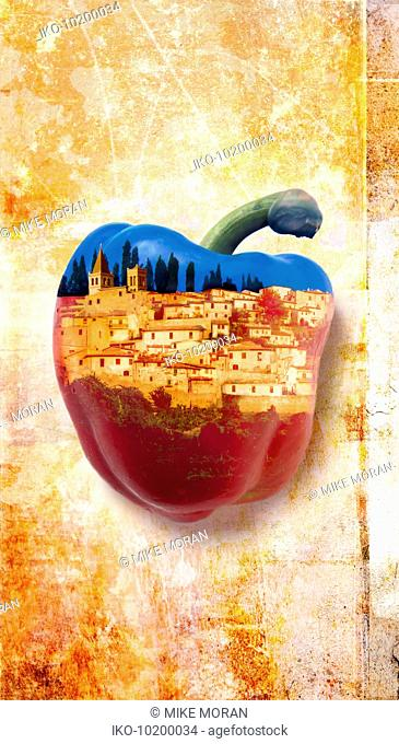 Historic hill town superimposed onto red bell pepper