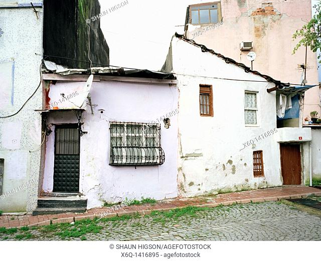 Poor dilapidated housing in Sultanhamet in Istanbul in Turkey in the Middle East
