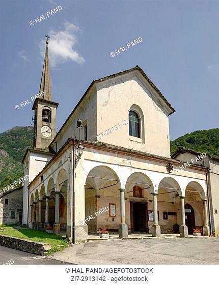 view of San Bartolomeo church, shot on bright summer day at Scopa, Valsesia, Vercelli, Italy
