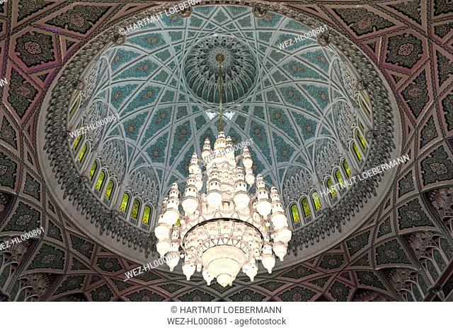 Oman, Sultan Qaboos Grand Mosque, Main luster on domed ceiling