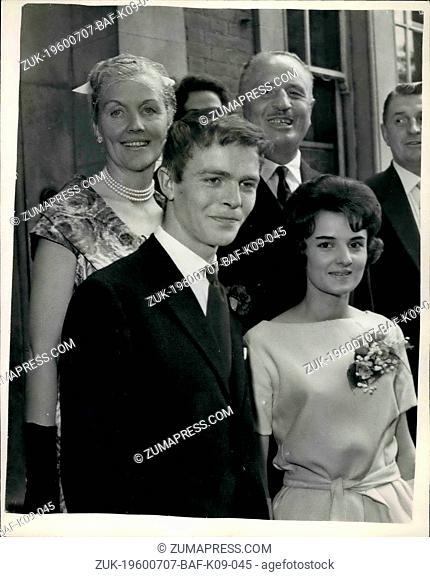 Jul. 07, 1960 - Sir Oswald Mosley's Son Marries: Max Mosley, 20-year-old son of Sir Oswald Mosley, was married today to Jean Taylor