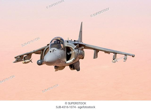 A US Marine Corps AV-8B Harrier High Above the Al Anbar Province of Iraq