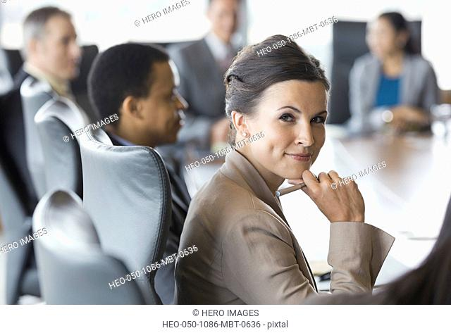 Confident businesswoman in meeting