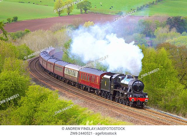 Steam train. LMS Jubilee Class 'Leander'. Settle to Carlisle Railway Line, Eden Valley, Cumbria, England, UK
