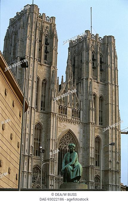 Facade of a cathedral, St. Michael and St. Gudula Cathedral, Brussels, Belgium