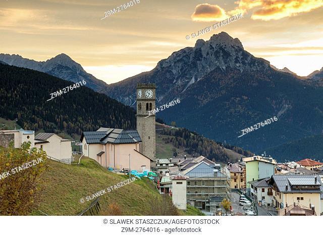 Dawn in Danta di Cadore, Belluno province, Veneto region, Italy. Dolomites