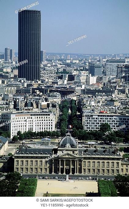 City buildings seen from the Eiffel Tower including the Montparnasse Tower and École Militaire, Paris, France