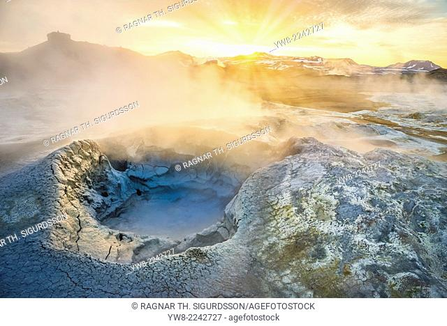 Landscape of geothermal hot springs, mud pots and fumaroles, Namaskard by Lake Myvatn, Northern, Iceland