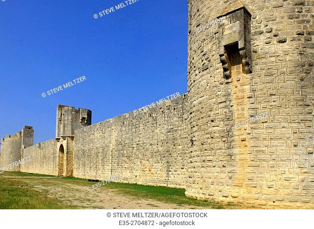 The defensive fortress wall that surrounds the city of Aigues-Mortes, France