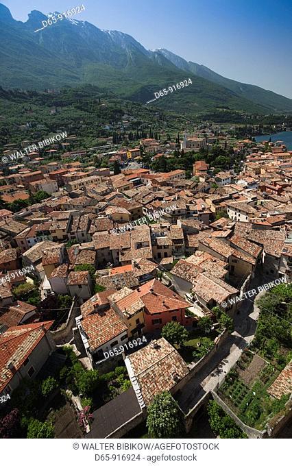 Italy, Veneto, Lake District, Lake Garda, Malcesine, town view from Castello Scaligero castle