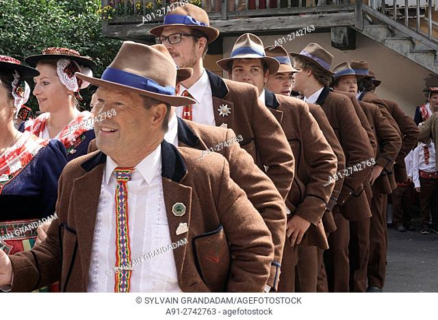 Switzerland, Valais, Val d'Herens, village of Evolene during the august 15th midsummer festival , including a parade, flokloric songs and dances