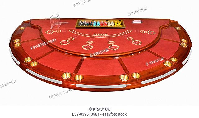 Poker table, isolated on white