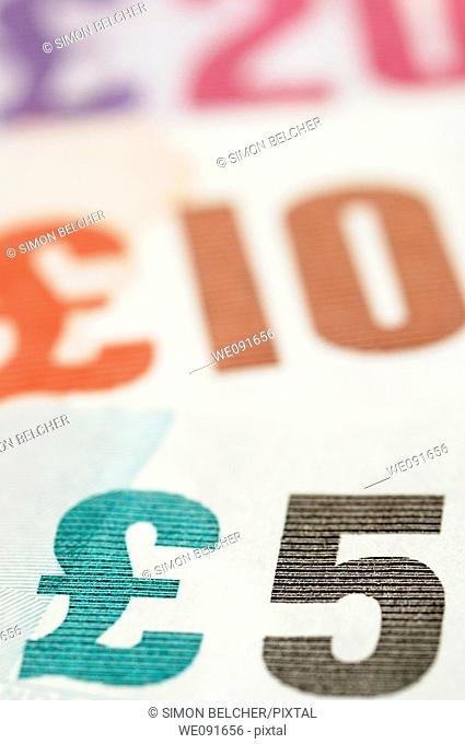 British Pound Notes Close Up