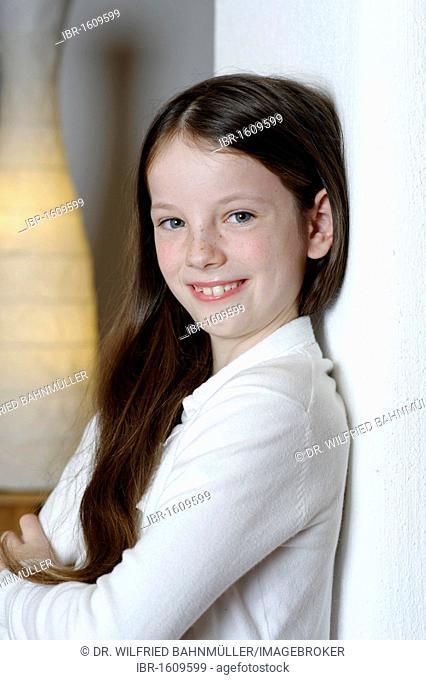 Girl, 10, smiling