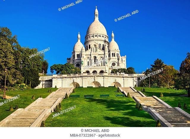Basilica Sacre Coeur in Montmartre in Paris, France