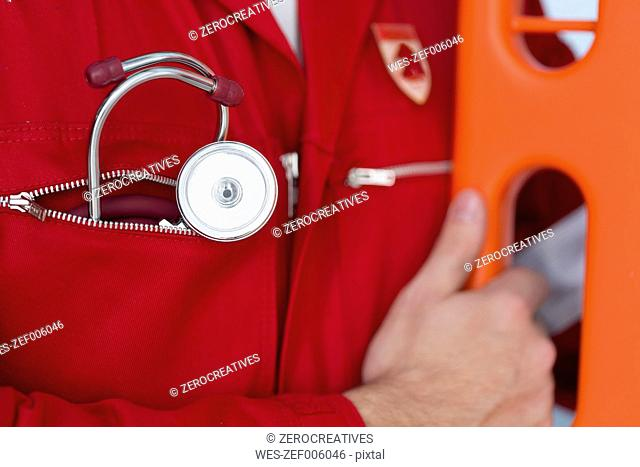 Close-up of paramedic with stethoscope