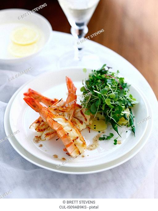 Plate of prawn salad with potatoes and micro herbs