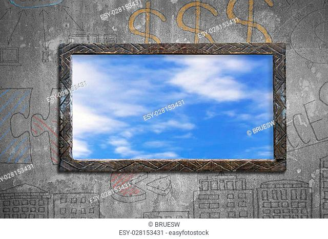 Old dirty wooden frame window with blue sky clouds view, on business concept doodles concrete wall background